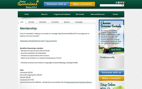 Screenshot of Signup Page keepqueenslandbeautiful.org.au - Membership .:. Keep Queensland Beautiful - captured Sept. 30, 2014