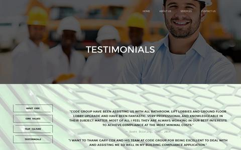 Screenshot of Testimonials Page codegroup.com.au - Testimonials – Building Compliance Solutions - captured July 9, 2017
