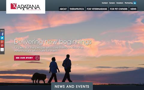 Screenshot of Home Page aratana.com - Home - Aratana - captured Sept. 11, 2015