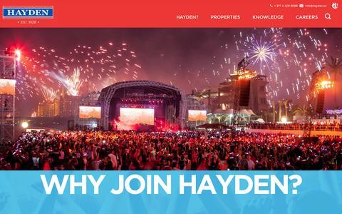 Screenshot of Jobs Page hayden.ae - Work With Hayden | Hayden Real Estate Dubai - captured Oct. 2, 2014
