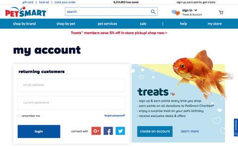 Screenshot of Signup Page petsmart.com - Account Sign In | PetSmart - captured Sept. 13, 2018