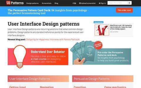 Screenshot of Home Page ui-patterns.com - UI-Patterns.com - captured Dec. 2, 2015