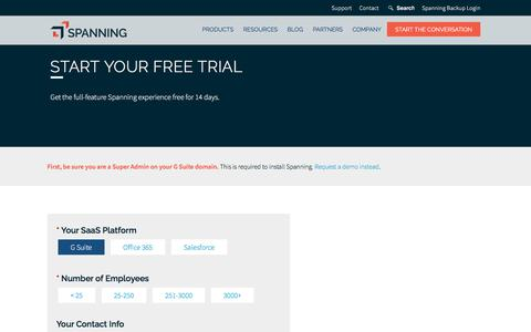 Screenshot of Trial Page spanning.com - Start Free Trial   Spanning - captured March 1, 2018