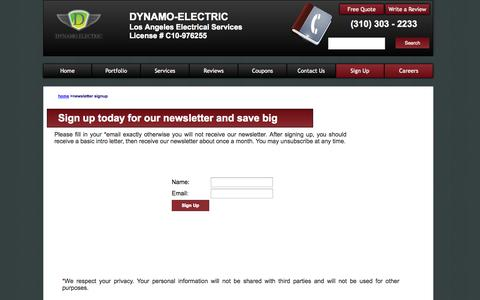 Screenshot of Signup Page dynamoelectricinc.com - Newsletter Sign Up | Los Angeles, Los Angeles Electrical Services | Dyanmo-Electric - captured Sept. 30, 2014