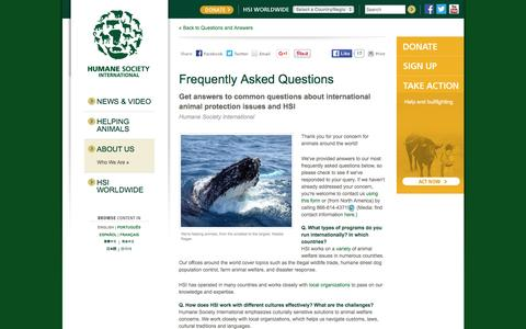 Screenshot of FAQ Page hsi.org - Frequently Asked Questions : Humane Society International - captured Jan. 22, 2016