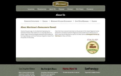 Screenshot of About Page merrimanshawaii.com - About - Merriman's Hawaii Restaurants - captured Jan. 10, 2016