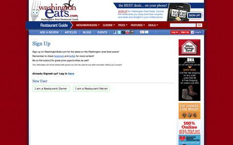 Screenshot of Signup Page washingtoneats.com - Washington's Best Restaurant Guide | Washington Eats - captured April 2, 2016