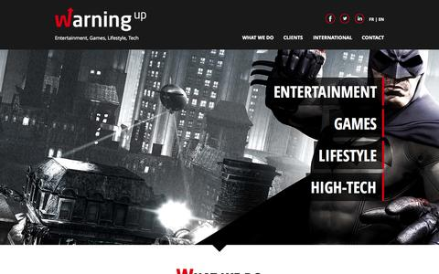 Screenshot of Home Page warningup.com - Warning Up - The games, lifestyle an high-tech agency - captured Sept. 19, 2014