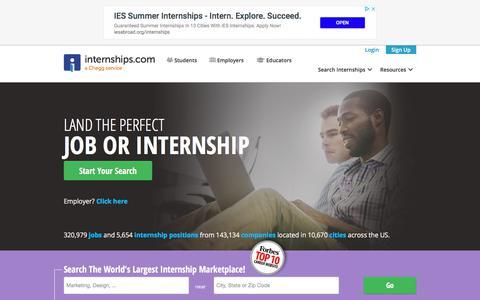 Screenshot of Home Page internships.com - Internships – Internship Search and Intern Jobs | Internships.com - captured Sept. 21, 2018