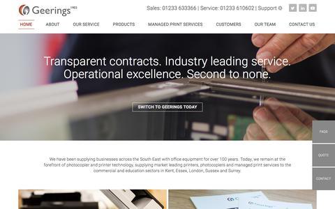 Screenshot of Home Page geerings.co.uk - Printer & Photocopier Suppliers & Service Provider - Geerings - captured July 21, 2017