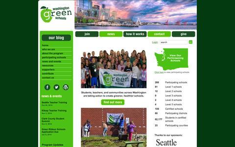 Screenshot of Home Page wagreenschools.org - Welcome!   Washington Green Schools - captured Oct. 6, 2014