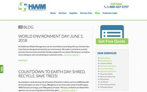 Screenshot of Blog hwmusa.com - Blog - Healthcare Waste Management - captured July 6, 2018