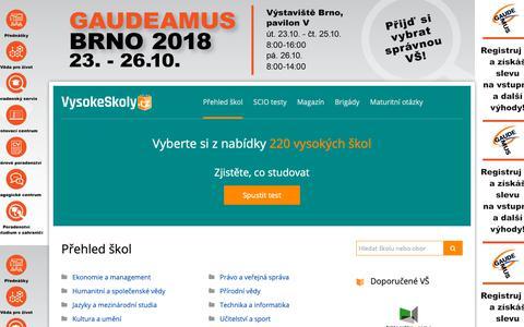 Screenshot of Home Page vysokeskoly.cz - Soukromé a státní vysoké školy - přijímací zkoušky, studium na VŠ a vzdělávání - Vysoké školy - captured Oct. 19, 2018
