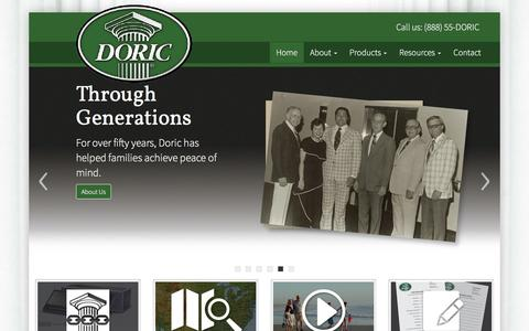 Screenshot of Home Page doric-vaults.com - Doric Products, Inc. - Quality lined burial vaults and funeral products - captured Feb. 9, 2016