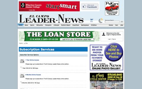 Screenshot of Services Page leader-news.com - Leader News: Subscription Services - captured Oct. 2, 2014