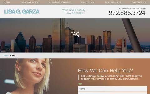 Screenshot of FAQ Page lisaggarzafamilylaw.com - Family Law Attorney in Dallas   FAQ - captured Sept. 29, 2018