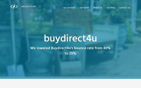 Screenshot of Case Studies Page electricstudio.co.uk - Custom WooCommerce e-Commerce for Buydirect4u | Electric Studio - captured Feb. 17, 2017