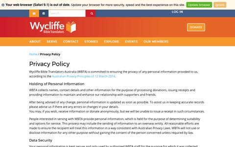 Screenshot of Privacy Page wycliffe.org.au - Privacy Policy - Wycliffe Australia - captured Oct. 26, 2017