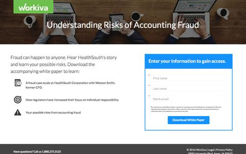 Screenshot of Landing Page workiva.com - Understanding risks of accounting fraud - captured Oct. 19, 2016