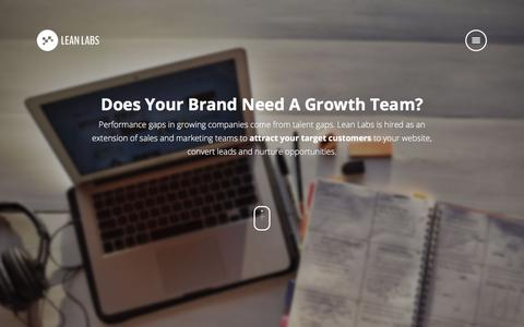Screenshot of About Page Team Page lean-labs.com - Lean Labs Growth Team - captured July 13, 2018