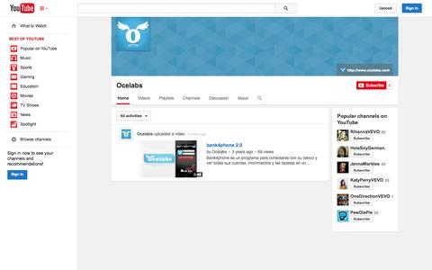 Screenshot of YouTube Page youtube.com - Ocelabs  - YouTube - captured Nov. 5, 2014