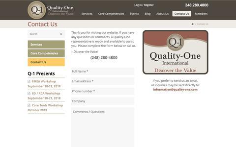 Screenshot of Contact Page quality-one.com - Contact Quality-One | Quality and Reliability Support | Quality-One - captured Sept. 28, 2018