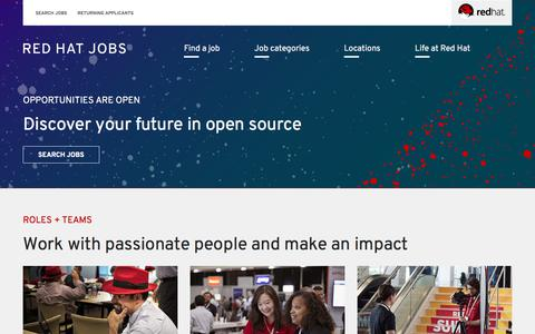Screenshot of Jobs Page redhat.com - Red Hat Jobs | Opportunities are open - captured Sept. 20, 2018