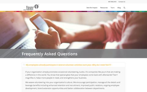 Screenshot of FAQ Page teer1.com - Frequently Asked Questions - Teer1 - captured Dec. 13, 2016