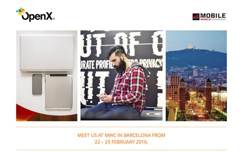 Screenshot of Landing Page openx.com - OpenX — Meet us at MWC in Barcelona from 22 – 25 February 2016. - captured Oct. 19, 2016