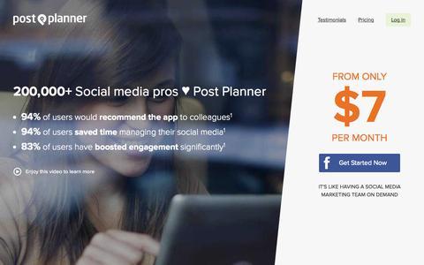 Screenshot of Pricing Page postplanner.com - Plans & Signup - Post Planner - captured Nov. 12, 2015