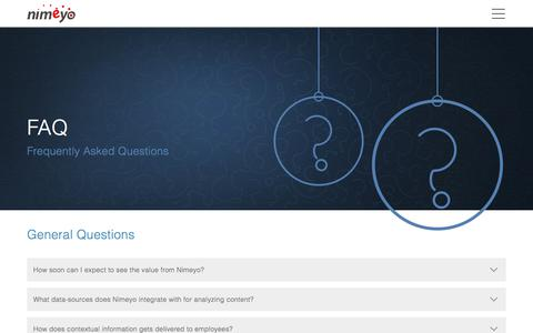 Screenshot of FAQ Page nimeyo.com - FAQ :: Nimeyo -  Enterprise Knowledge Management Platform - captured June 13, 2017