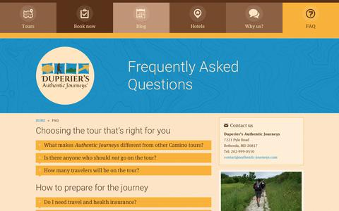 Screenshot of FAQ Page authentic-journeys.com - Frequently Asked Questions   Duperier's Authentic Journeys - Camino of Santiago Walking Tours - captured Oct. 13, 2017