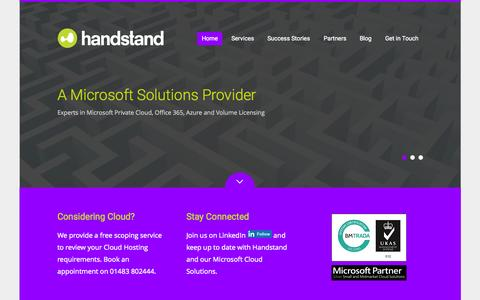 Screenshot of Home Page handstand.co.uk - Handstand, a Microsoft Cloud Solutions Provider - captured Sept. 22, 2015