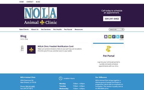 Screenshot of Blog nolaanimalclinic.com - Blog | Veterinarians New Orleans | NOLA Animal Clinic - captured April 28, 2017