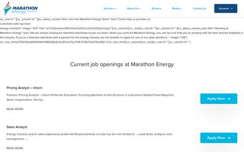 Screenshot of Jobs Page mecny.com - Careers – Marathon Energy - captured June 19, 2018