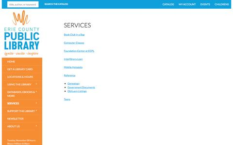 Screenshot of Services Page erielibrary.org - Services | Erie County Public Library - captured Nov. 8, 2016