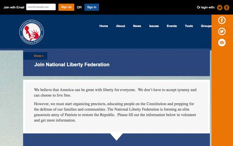 Screenshot of Signup Page libertyfederation.com - Join National Liberty Federation - captured Oct. 27, 2014
