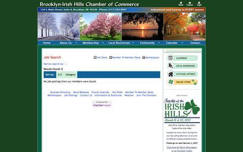 Screenshot of Jobs Page irishhills.com - Job Search - Brooklyn-Irish Hills Chamber of Commerce - captured Jan. 24, 2017