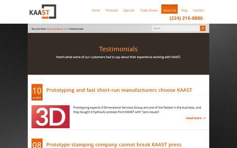 Screenshot of Testimonials Page kaast-usa.com - Customer testimonials | KAAST Machine Tools - captured Feb. 12, 2016