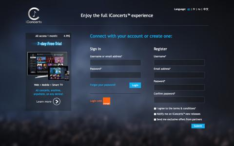 Screenshot of Login Page iconcerts.com - iConcerts™ - captured Nov. 26, 2016