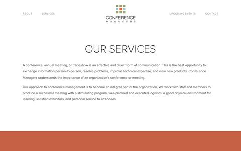 Screenshot of Services Page conferencemanagers.com - Our Services — Conference Managers - captured Sept. 29, 2018
