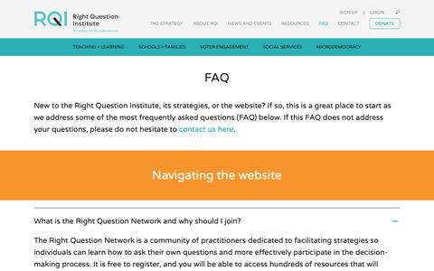Screenshot of FAQ Page rightquestion.org - FAQ - Right Question Institute - captured Dec. 21, 2018