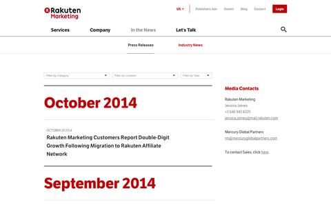 Screenshot of Press Page rakuten.com - Press Releases   Rakuten Marketing - captured Nov. 3, 2014