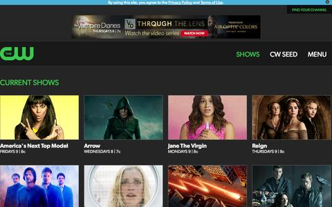 Screenshot of Menu Page cwtv.com - The CW Television Network | CW Shows | Official CW Show Pages - captured Oct. 29, 2014