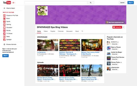 Screenshot of YouTube Page youtube.com - SPAPARAZZI Spa Blog Videos  - YouTube - captured Oct. 22, 2014