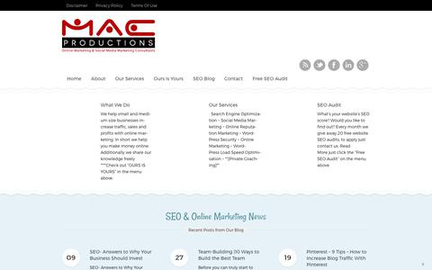 Screenshot of Home Page macproductions.com - Online Marketing and Social Media Consultants | London - captured Oct. 4, 2017
