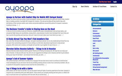 Screenshot of Blog ayoopa.com - Ayoopa - The Online Rental Marketplace...Blog - captured Oct. 29, 2014