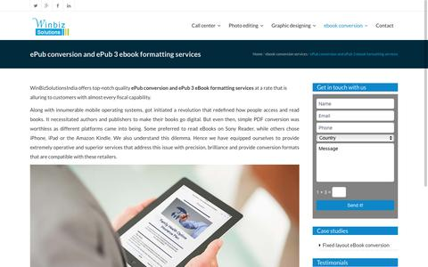 Epub conversion services |Epub3 formatting services| Winbizsolutionsindia
