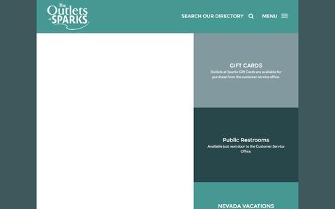 Screenshot of Support Page outletsatsparks.com - Customer Service - captured Jan. 28, 2016