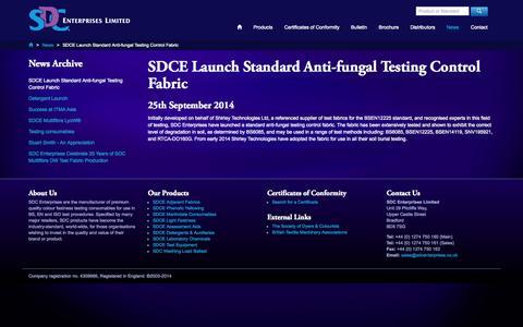 Screenshot of Press Page sdcenterprises.co.uk - SDCE Launch standard anti-fungal testing control fabric - SDC Enterprises Limited, News - captured Nov. 2, 2014